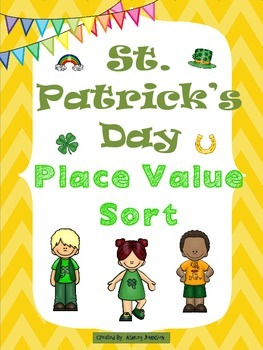 St. Patrick's Day Place Value Sort Math Station activity