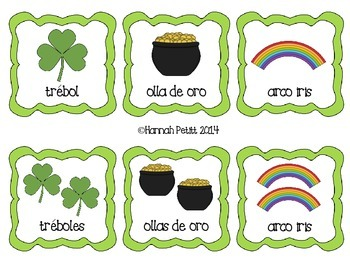 St. Patrick's Day Plurals Match: English/Spanish Bilingual