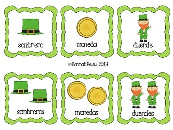 St. Patrick's Day Plurals Match: Spanish