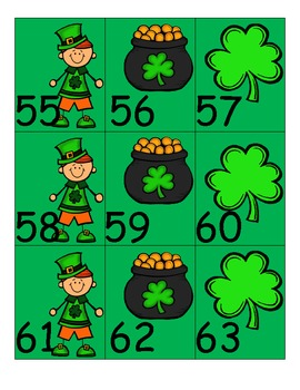 St. Patrick's Day Pocket Chart Numbers 1-100, plus blanks