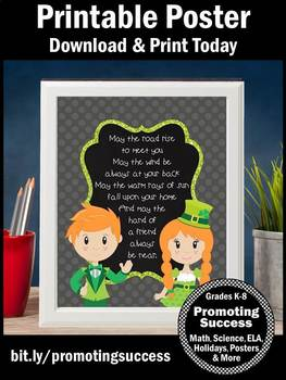 St. Patrick's Day Poster Inspirational Quote about Friendship Classroom Decor