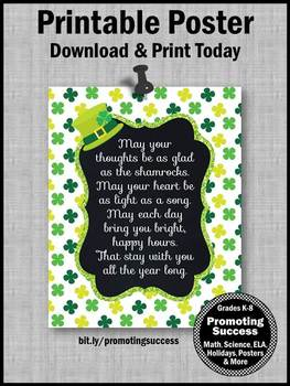 St. Patrick's Day Poster Irish Blessing Inspirational Quote Classroom Decor