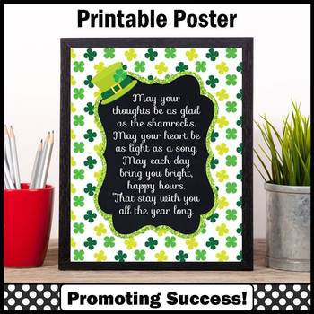 St. Patrick's Day Poster Irish Blessing Inspirational Quot