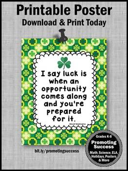 St. Patrick's Day Quote Poster about Luck & Hard Work Classroom Decor