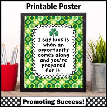 St. Patrick's Day Quote Poster about Luck & Hard Work Clas