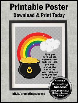 St Patricks Day Poster Rainbow Theme Pot of Gold Quote about Luck