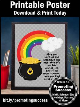 St Patricks Day Poster Rainbow Classroom Theme Pot of Gold Quote about Luck