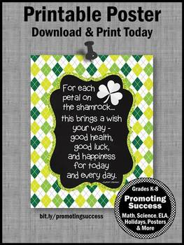 St. Patrick's Day Classroom Decor, Good Luck Quote Poster 8x10 16x20