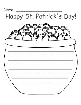 St. Patrick's Day - Pot Of Gold Writing Printable FREEBIE