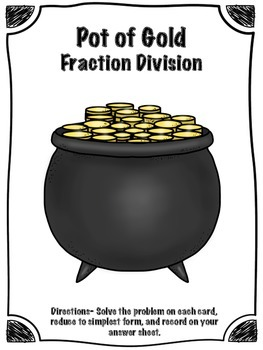 St. Patrick's Day Pot of Gold Fraction Division Math Center (Common Core)