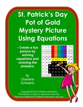 St. Patrick's Day Pot of Gold Mystery Picture Using Equations