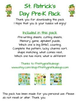 St. Patrick's Day Pre-K Pack