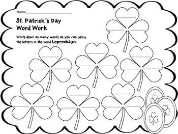 St. Patrick's Day Print & Go Activities