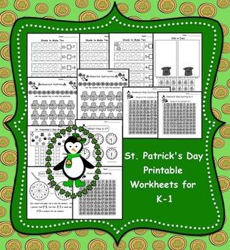 St. Patrick's Day Printable Math Worksheets for K-1
