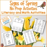 Signs of Spring Literacy and Math Printables