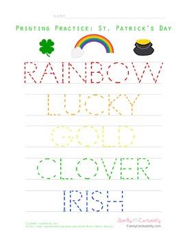 St. Patrick's Day Printing Practice Activity
