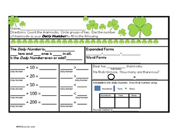 Problem Solving and Skills Practice Sheets—2nd Grade St. Patrick's Day Theme