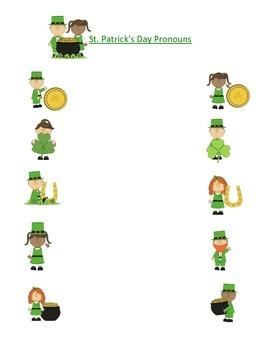 St. Patrick's Day Pronoun Worksheet