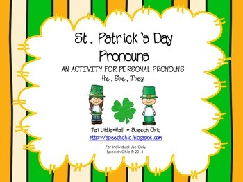 St. Patrick's Day Pronouns for Speech and Language
