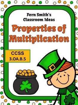 St. Patrick's Day Math Properties of Multiplication Center Game Task Cards More