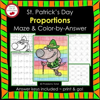 St. Patrick's Day Math Proportions Maze & Color by Number Activity