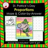 St. Patrick's Day Math Proportions Maze & Color by Number
