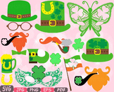 St. Patricks Day Props Photo Booth clipart Saint Patty Irish four leaf shirt 16p