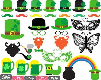 St. Patricks Day Props Photo Booth clipart Saint Patty Irish four leaf shirt 16p