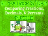 St. Patrick's Day Puzzle: Comparing Fractions, Decimals, and Percents