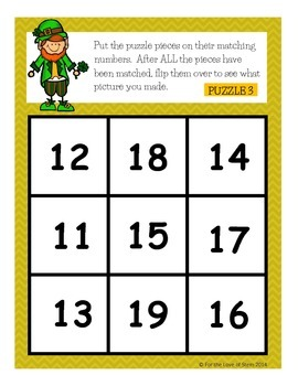 St Patrick's Day Puzzle Mats (Differentiated Math Centers: Numbers 11-19)