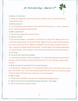 St. Patrick's Day, Q & A