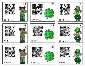 QR Addition and Subtraction Task Cards ~ St. Patrick's Day