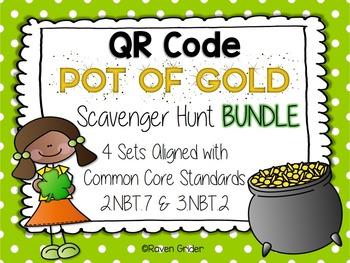 St. Patrick's Day QR Code Scavenger Hunt BUNDLE: 4 Common Core Aligned Sets
