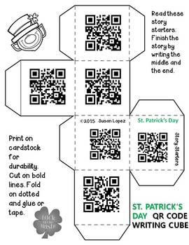St. Patrick's Day Writing Prompt Cube  With & Without QR Codes