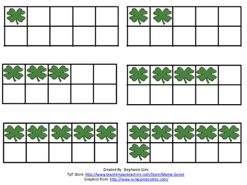 St. Patrick's Day Quick Images: Ten-Frame, Dice & Domino Cards (0-10)