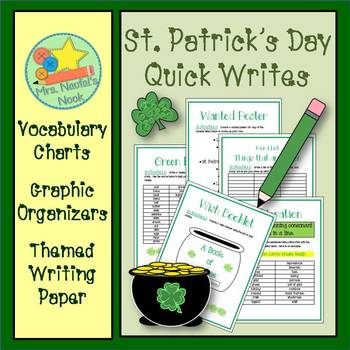 St. Patrick's Day Writing - Alliteration, Recipe Writing, Word Lists and More
