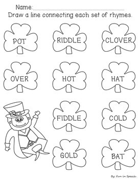St. Patrick's Day Rhyming Worksheets - NO PREP!