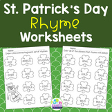 St. Patrick's Day Rhyming Worksheets for Speech Therapy