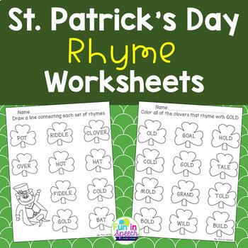 St. Patrick's Day Rhyming Worksheets - NO PREP!