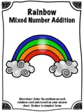 St. Patrick's Day Rainbow Mixed Number Addition Math Cente