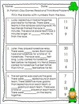 March Centers St. Patrick's Day Math Problems