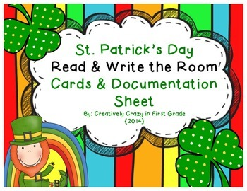 St. Patrick's Day Read and Write the Room Cards and Documentation Sheet