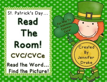 St. Patrick's Day Read the Room for CVC/CVCe Words! 18 Word Cards & More!