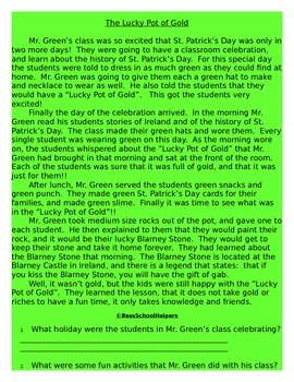 St. Patrick's Day Reading Comprehension Packet-Common Core Aligned