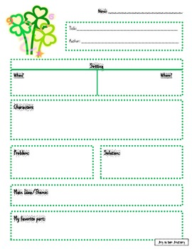 St. Patrick's Day Reading Comprehension Sheets for ANY Book