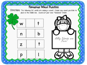 St. Patrick's Day Reading Practice (CVC & Nonsense Words)