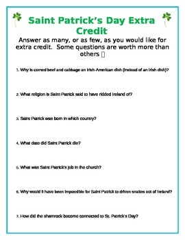St. Patrick's Day Research Extra Credit