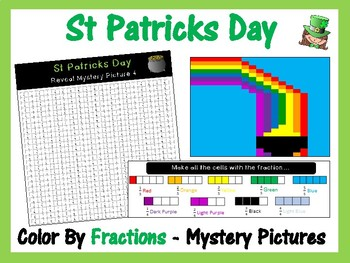 St Patricks Day Maths - Color By Fractions (Reveal 6 Mystery Pictures)