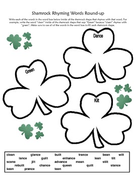St. Patrick's Day Rhyming Words Round Up and Word Search