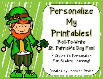 St. Patrick's Day 'Roll & Write'  Make Your Own Printables